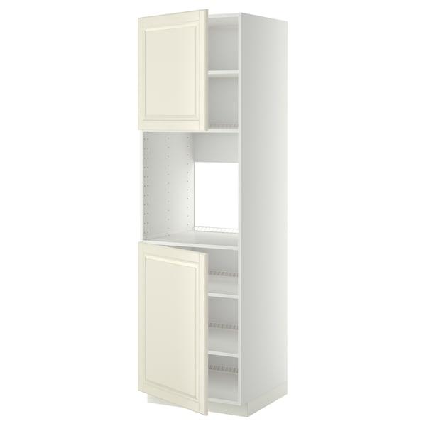 METOD Aahorno+2pt/bld, blanco/Bodbyn hueso, 60x60x200 cm