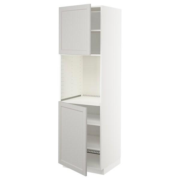 METOD Aahorno+2pt/bld, blanco/Lerhyttan gris claro, 60x60x200 cm