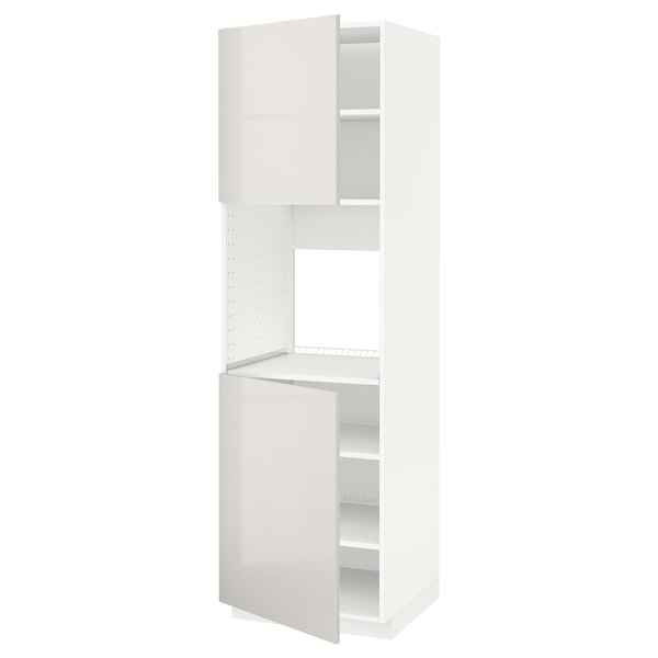 METOD Aahorno+2pt/bld, blanco/Ringhult gris claro, 60x60x200 cm