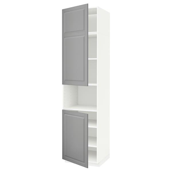 METOD Aamicro+2pt/bld, blanco/Bodbyn gris, 60x60x240 cm
