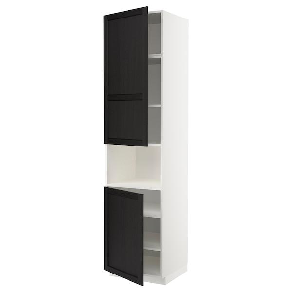 METOD Aamicro+2pt/bld, blanco/Lerhyttan tinte negro, 60x60x240 cm