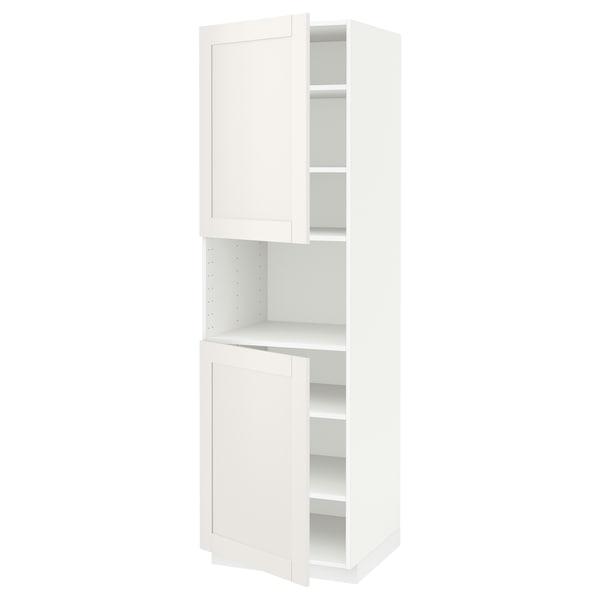 METOD Aamicro+2pt/bld, blanco/Sävedal blanco, 60x60x200 cm