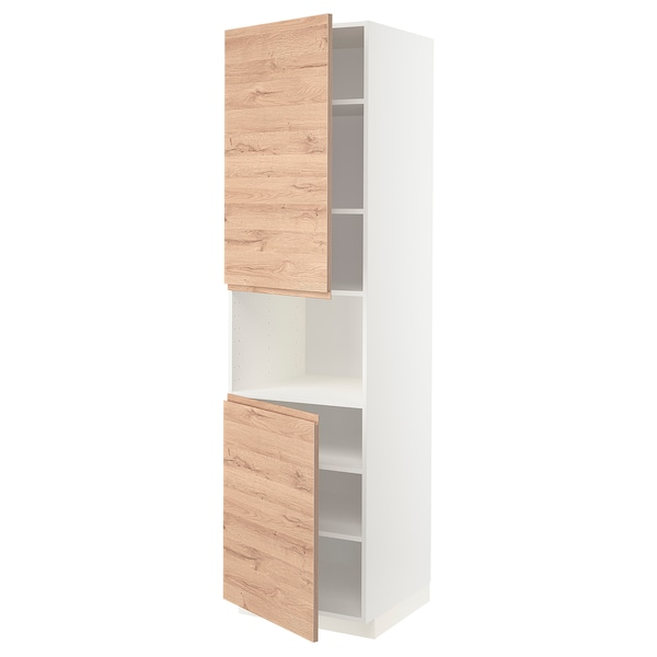 METOD Aamicro+2pt/bld, blanco/Voxtorp efecto roble, 60x60x220 cm