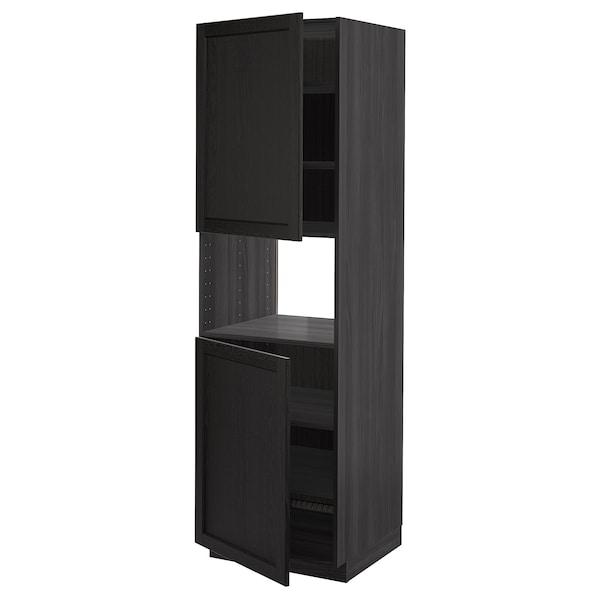 METOD Aamicro+2pt/bld, negro/Lerhyttan tinte negro, 60x60x200 cm