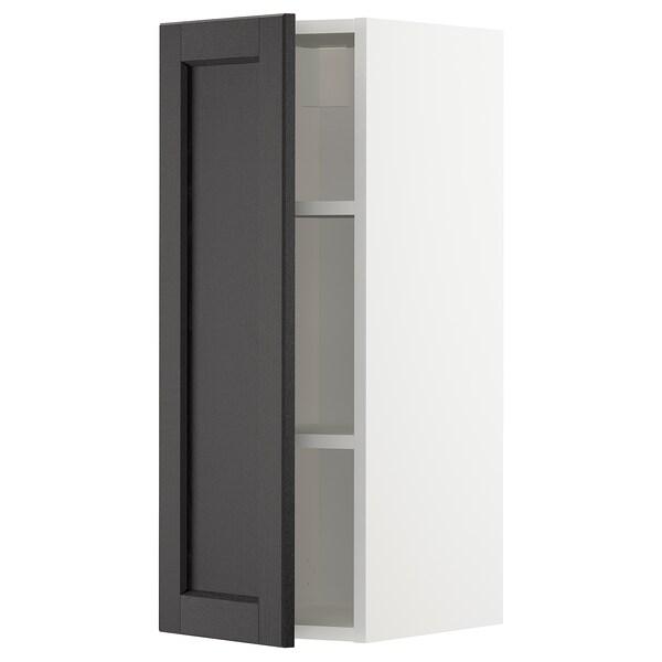 METOD Aprd+bld, blanco/Lerhyttan tinte negro, 30x80 cm