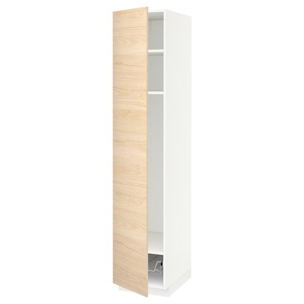 METOD Armario alto + baldas/cesto rejilla, blanco/Askersund efecto fresno claro, 40x60x200 cm