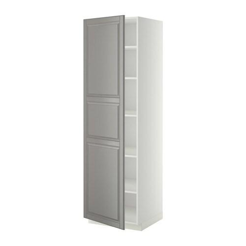 Metod armario alto cocina con baldas blanco bodbyn gris - Armario con baldas ...
