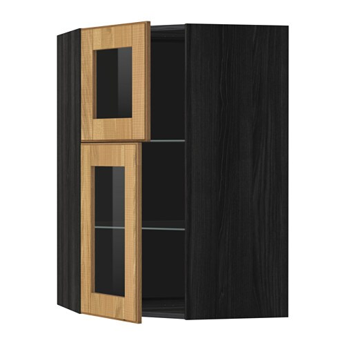 metod armario alto esquina puertas baldas efecto madera negro hyttan chapa roble ikea. Black Bedroom Furniture Sets. Home Design Ideas