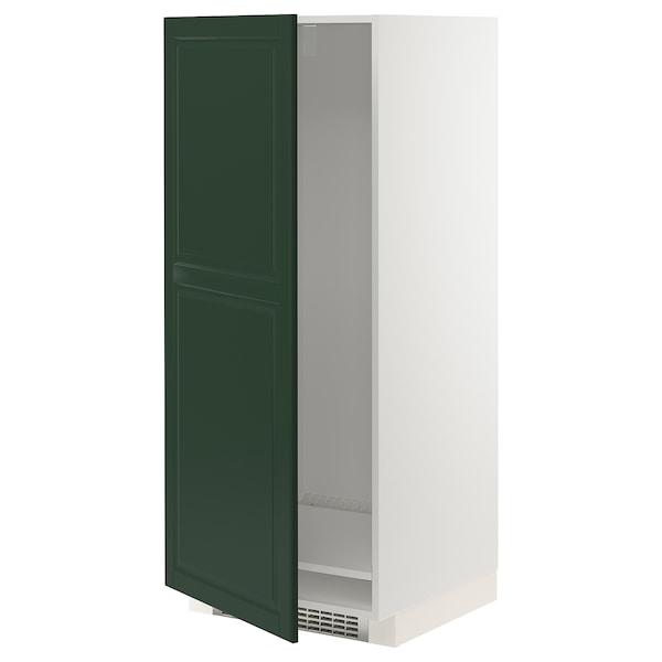 METOD Armario alto frigorífico congelador, blanco/Bodbyn verde oscuro, 60x60x140 cm
