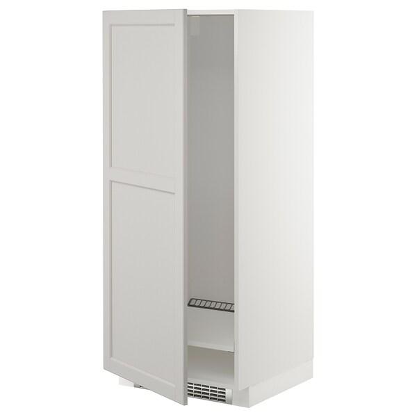 METOD Armario alto frigorífico congelador, blanco/Lerhyttan gris claro, 60x60x140 cm