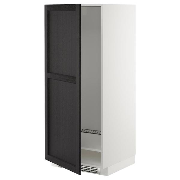 METOD Armario alto frigorífico congelador, blanco/Lerhyttan tinte negro, 60x60x140 cm
