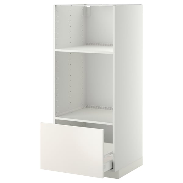 METOD Armario alto horno microondas cajón, blanco/Veddinge blanco, 60x60x140 cm