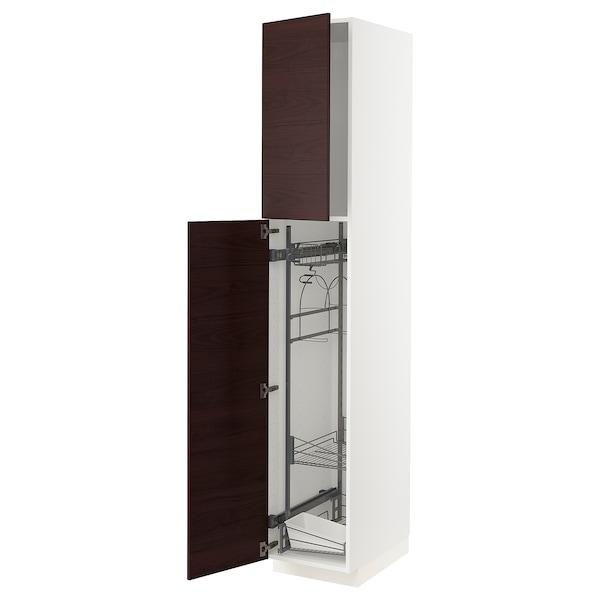 METOD Armario alto para limpieza, blanco Askersund/marrón oscuro laminado efecto fresno, 40x60x220 cm