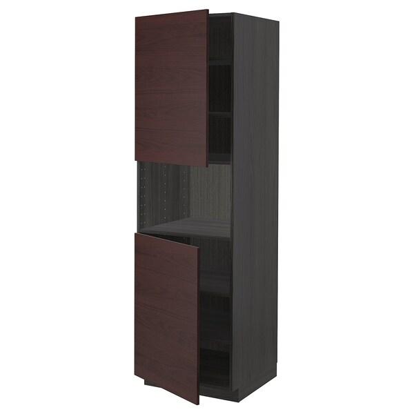 METOD Armario alto microondas 2 puertas, negro Askersund/marrón oscuro laminado efecto fresno, 60x60x200 cm