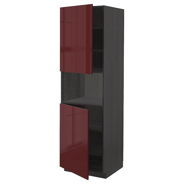 METOD Armario alto microondas 2 puertas, negro Kallarp/alto brillo marrón rojizo oscuro, 60x60x200 cm