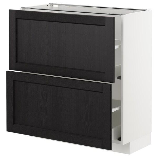 METOD Armario bajo cocina con 2 cajones, blanco/Lerhyttan tinte negro, 80x37 cm