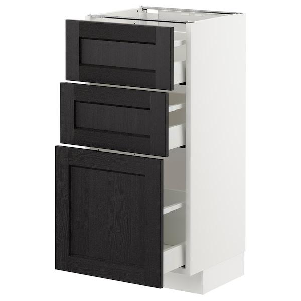 METOD Armario bajo cocina con 3 cajones, blanco/Lerhyttan tinte negro, 40x37 cm