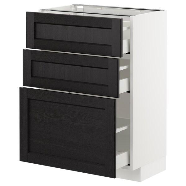 METOD Armario bajo cocina con 3 cajones, blanco/Lerhyttan tinte negro, 60x37 cm
