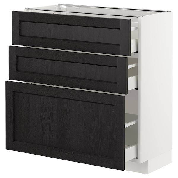 METOD Armario bajo cocina con 3 cajones, blanco/Lerhyttan tinte negro, 80x37 cm