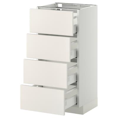 METOD Armario bajo cocina con 4 cajones, blanco/Veddinge blanco, 40x37 cm