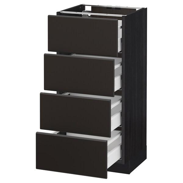 METOD Armario bajo cocina con 4 cajones, negro/Kungsbacka antracita, 40x37 cm