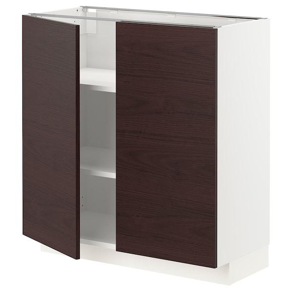 METOD Armario bajo cocina puertas baldas, blanco Askersund/marrón oscuro laminado efecto fresno, 80x37 cm