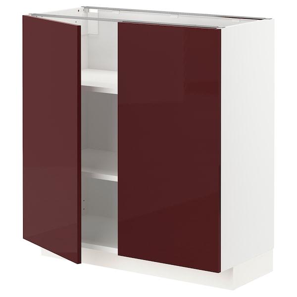 METOD Armario bajo cocina puertas baldas, blanco Kallarp/alto brillo marrón rojizo oscuro, 80x37 cm