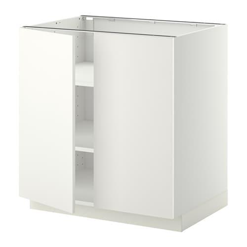 METOD Armario bajo cocina puertas baldas - Häggeby blanco, 80x60 cm ...