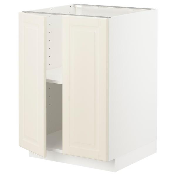 METOD Armario bajo con baldas y 2 puertas, blanco/Bodbyn hueso, 60x60 cm