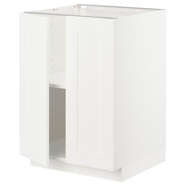 METOD Armario bajo con baldas y 2 puertas, blanco/Sävedal blanco, 60x60 cm