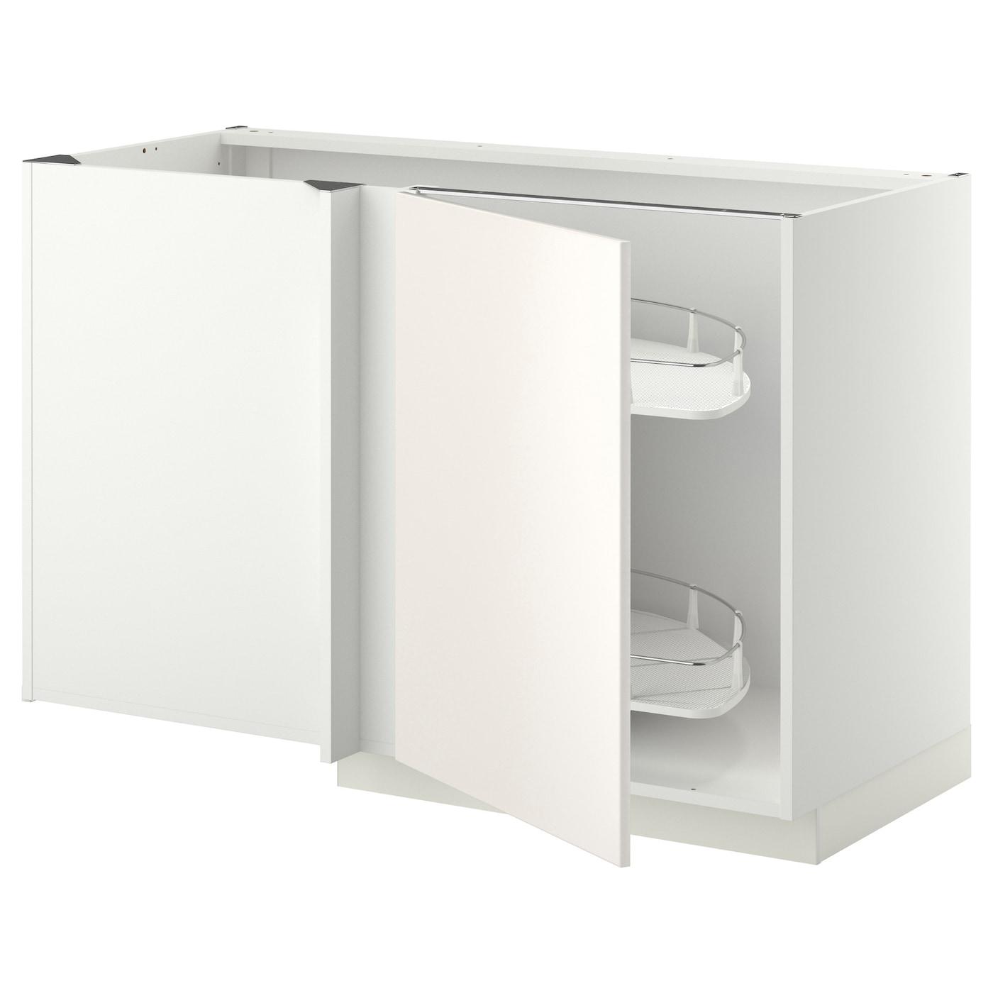 METOD Armario bajo esquina con extraíble Blanco/veddinge blanco 128 ...