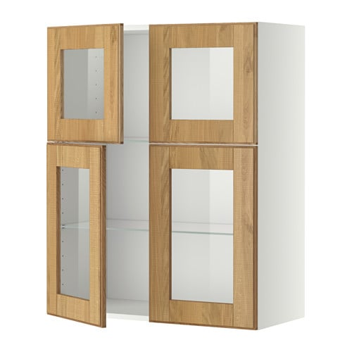 metod armario de pared baldas y puertas blanco hyttan chapa roble ikea. Black Bedroom Furniture Sets. Home Design Ideas
