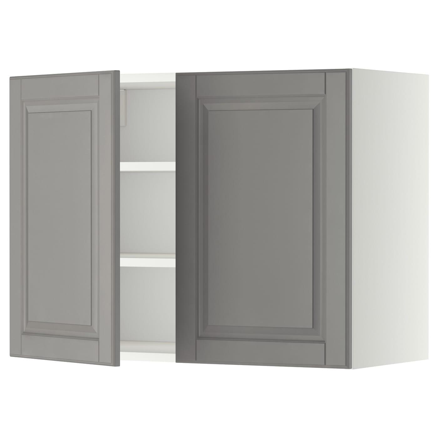 Metod armario de pared cocina con baldas blanco bodbyn gris 80 x 60 cm ikea - Armarios de cocina ikea ...