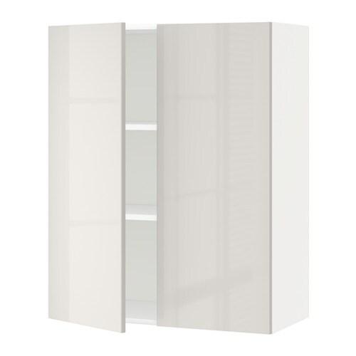 Metod armario de pared cocina con baldas ringhult alto brillo gris claro 80x100 cm ikea - Armarios de cocina ikea ...
