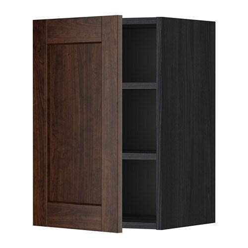 Metod armario de pared con baldas efecto madera negro - Armarios con baldas ...