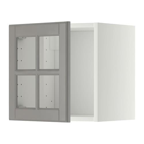 Metod armario de pared con vitrina blanco bodbyn gris - Mueble vitrina ikea ...