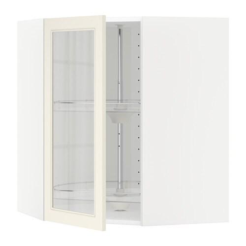 METOD Armario de pared esquina giratorio blanco, Hittarp hueso, 68×80 cm IKEA