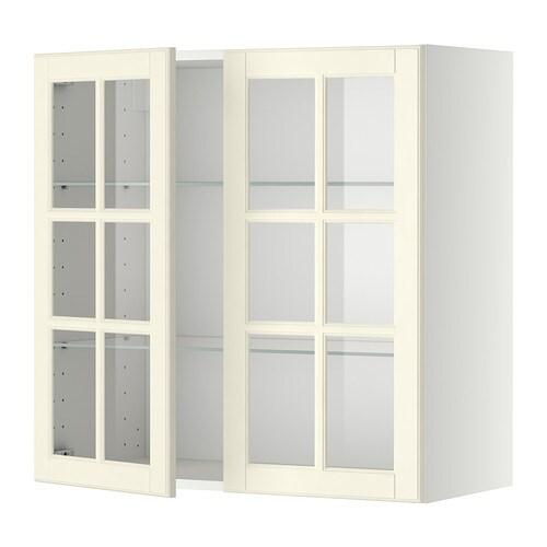 Metod armario de pared puertas de vidrio blanco bodbyn for Rieles puertas correderas ikea