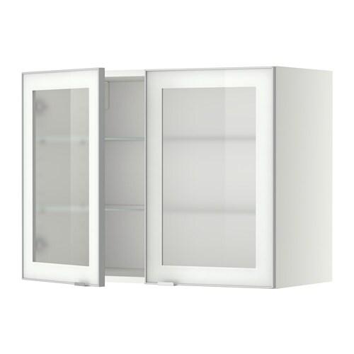 Metod armario de pared puertas de vidrio blanco jutis for Armario 2 puertas ikea