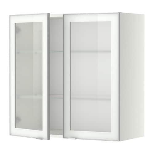 Metod armario de pared puertas de vidrio jutis vidrio esmerilado aluminio 80x80 cm ikea - Puertas armario ikea ...