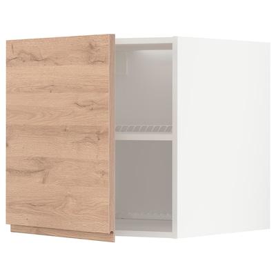 METOD Armario para encima del frigorífico, blanco/Voxtorp efecto roble, 60x60 cm