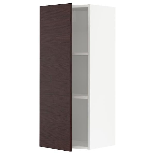 METOD Armario de pared con baldas, blanco Askersund/marrón oscuro laminado efecto fresno, 40x100 cm