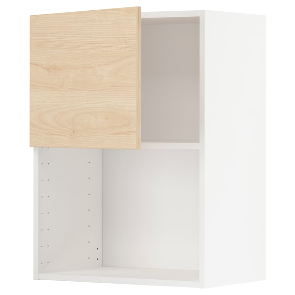 METOD Armario de pared para microondas, blanco/Askersund efecto fresno claro, 60x80 cm