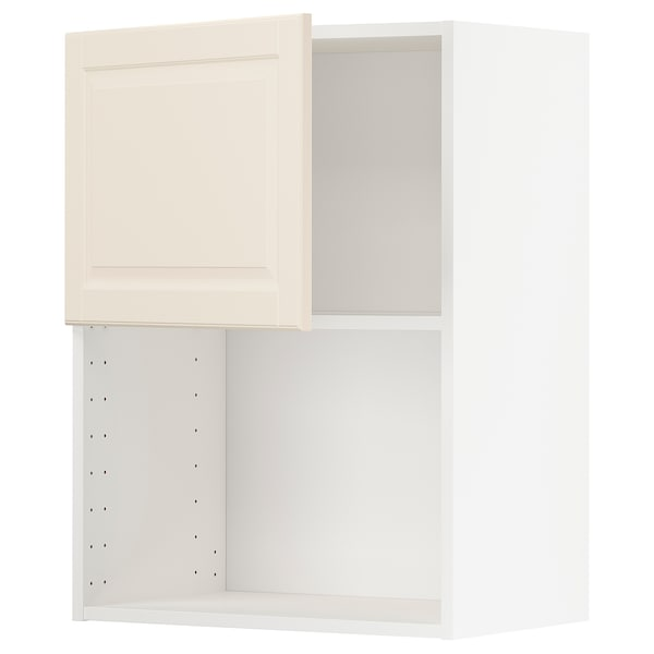 METOD Armario de pared para microondas, blanco/Bodbyn hueso, 60x80 cm