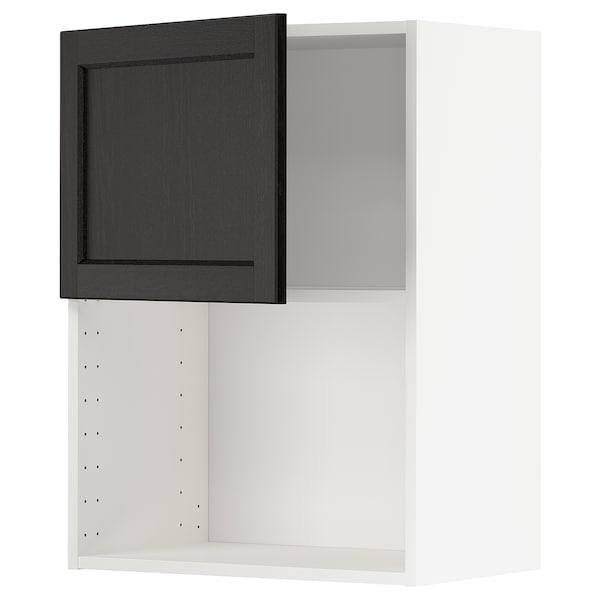 METOD Armario de pared para microondas, blanco/Lerhyttan tinte negro, 60x80 cm