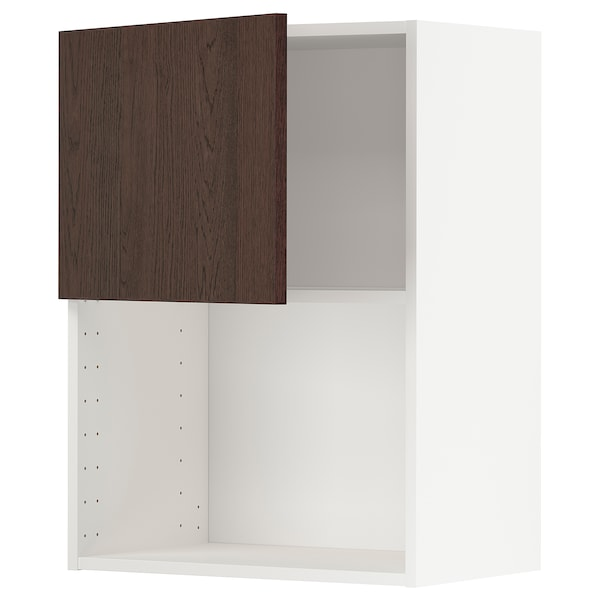 METOD Armario de pared para microondas, blanco/Sinarp marrón, 60x80 cm