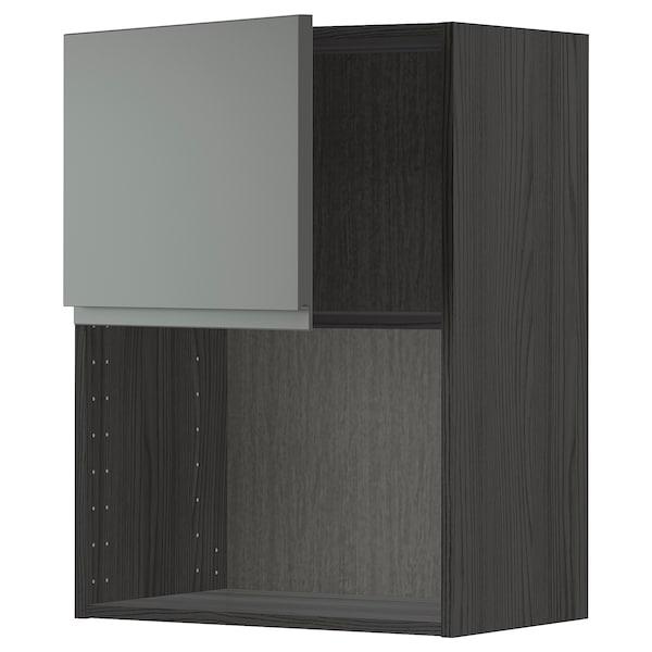 METOD Armario de pared para microondas, negro/Voxtorp gris oscuro, 60x80 cm