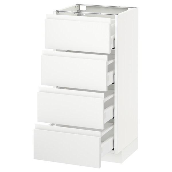 METOD armario bajo cocina con 4 cajones blanco/Voxtorp blanco mate 40.0 cm 39.1 cm 88.0 cm 37.0 cm 80.0 cm