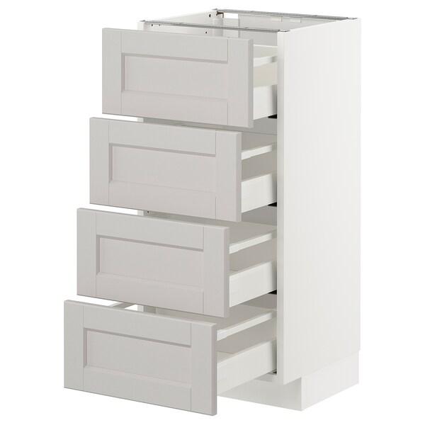 METOD armario bajo cocina con 4 cajones blanco/Lerhyttan gris claro 40.0 cm 39.5 cm 88.0 cm 37.0 cm 80.0 cm
