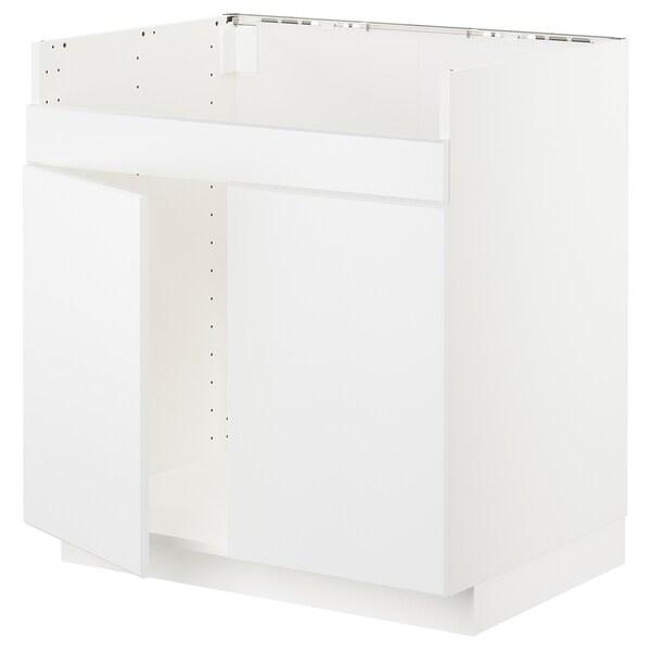 METOD armario bajo fregadero doble HAVSEN blanco/Kungsbacka blanco mate 80.0 cm 61.6 cm 88.0 cm 60.0 cm 80.0 cm